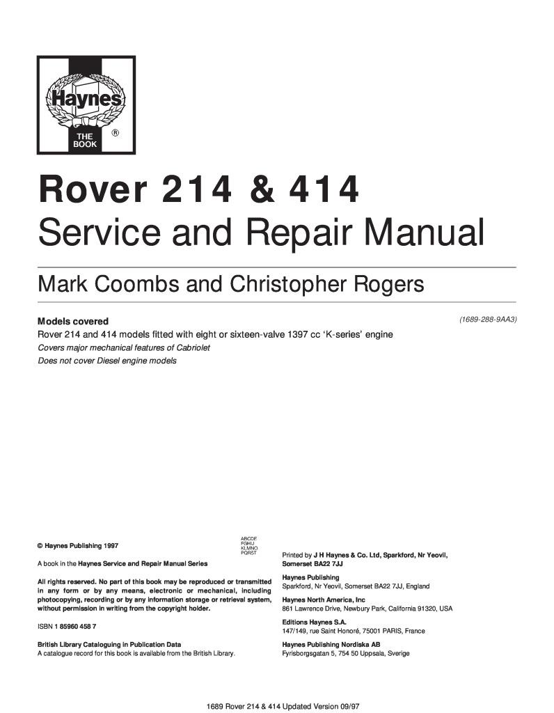 149 Rue Saint Honoré 1997 rover 214 414 workshop manual.pdf (5.73 mb)